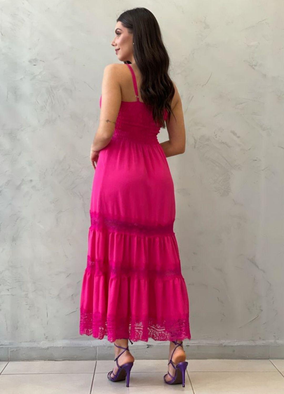 Vestido midi com renda Pink