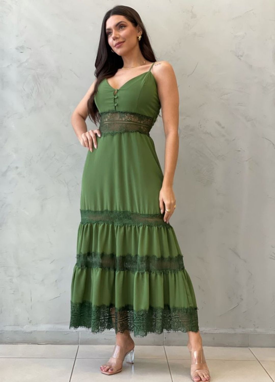 Vestido midi com renda Verde militar