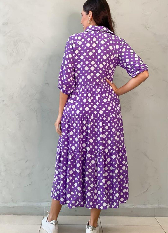 Vestido Midi roxo estampado