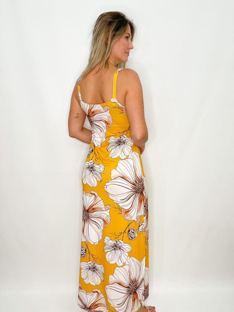 Vestido Mostarda Flora de Malha Fria