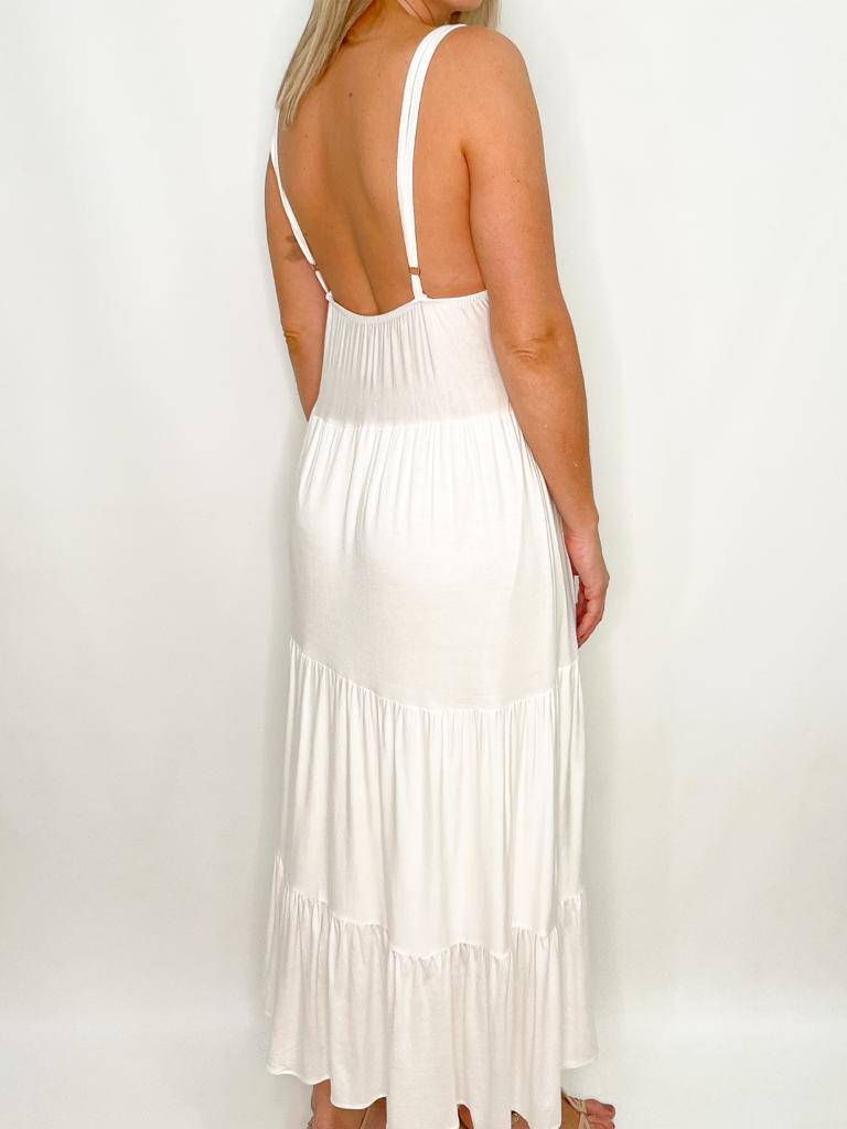 Vestido Off White Longo de Malha