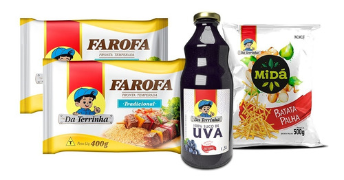 Kit 2 Farofas + Suco De Uva Da Terrinha + Batata Palha Midá