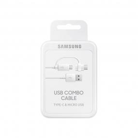Cabo 2 Em 1 Samsung 1,5m Micro Usb e Tipo-c DG930 - BRANCO
