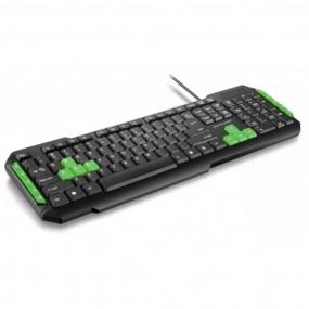 Teclado Gamer Com Hotkeys Multimidia Preto/Verde Multilaser - TC201