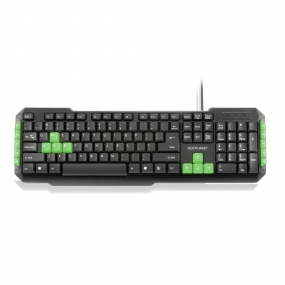 Teclado Gamer Com Hotkeys Multimidia Preto/Verde TC201 Multilaser - 1UNICA