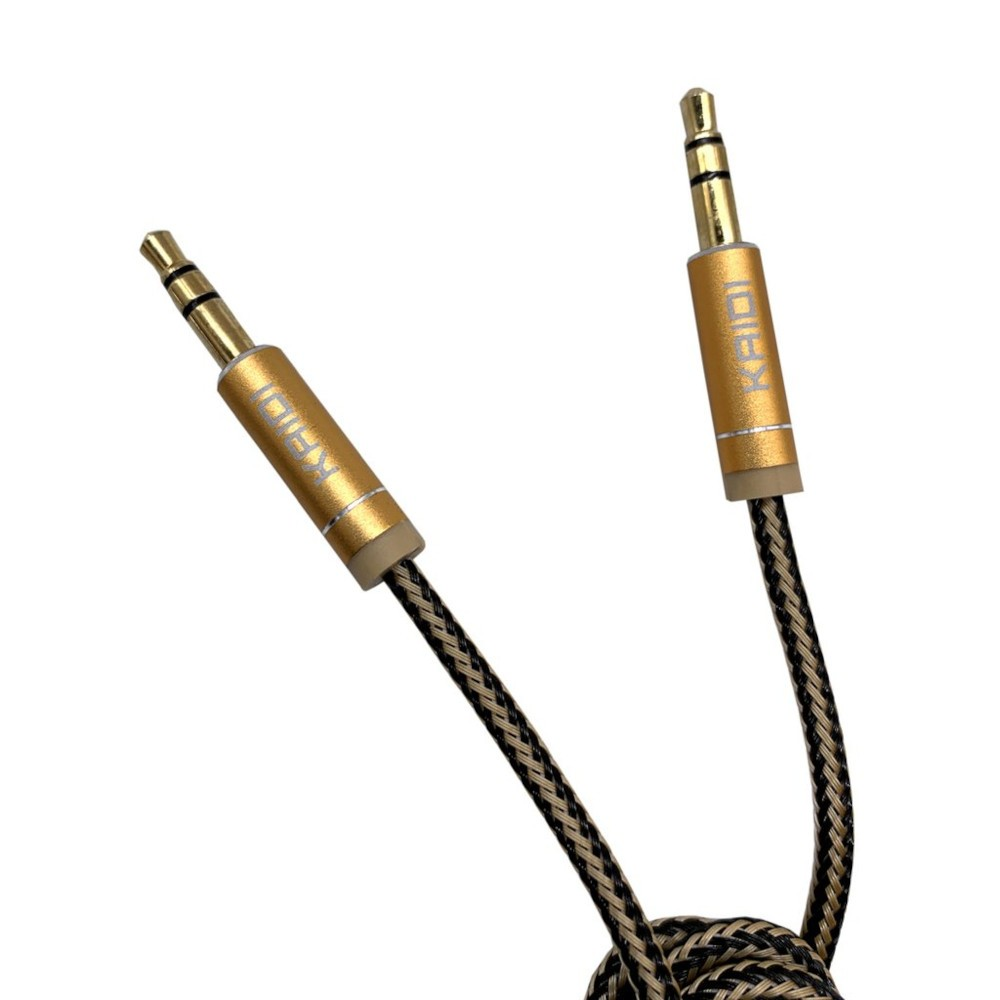 Cabo de Áudio P2/P2 100cm  Kaidi KD 309 3.5mm Dourado