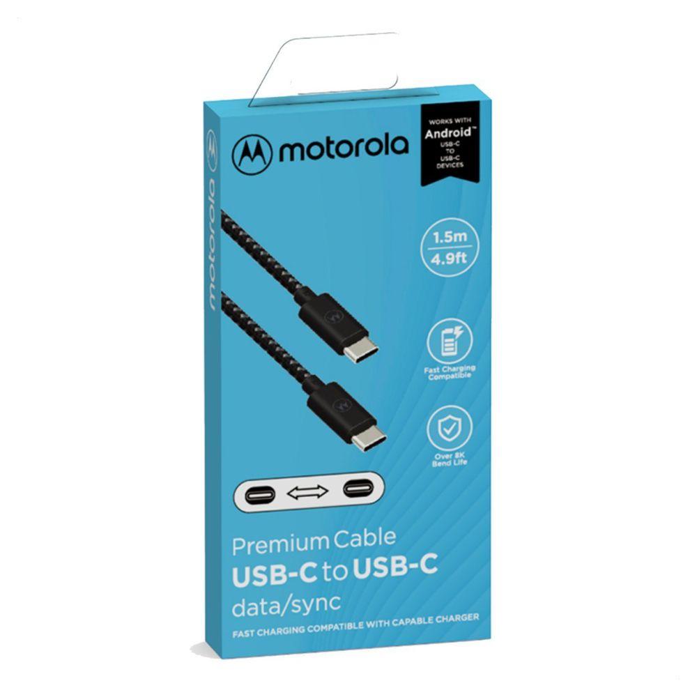 Cabo Tipo-C Motorola Acabamento Cordão 1,5m - PRETO