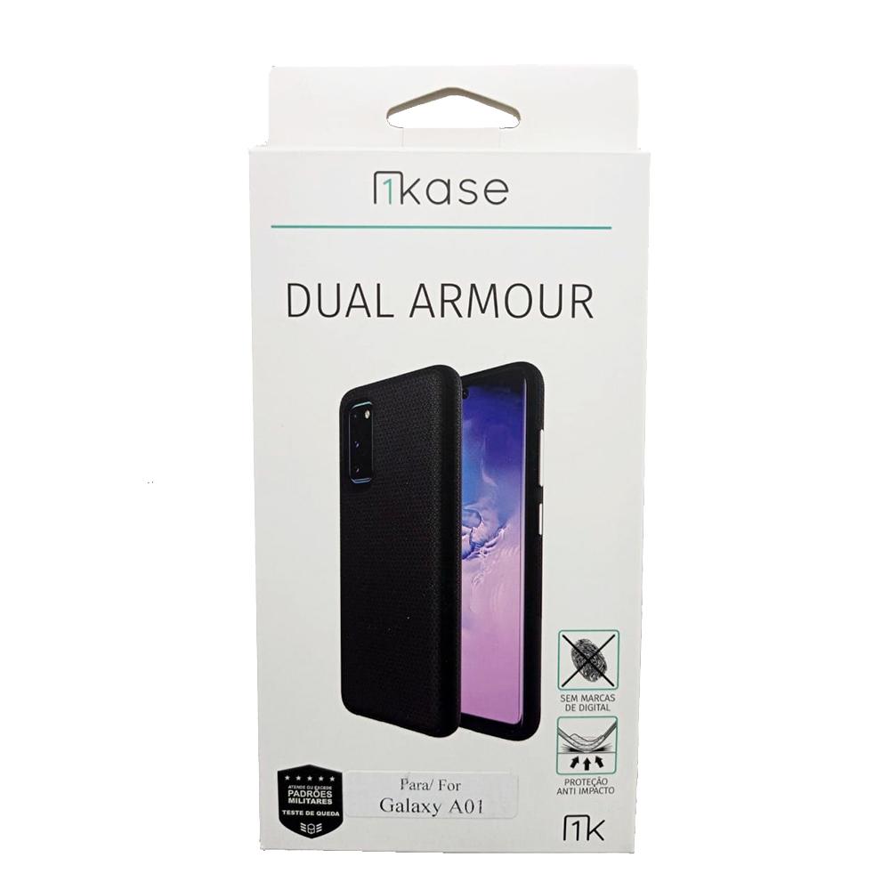 Capa Anti Impacto Samsung A01 - Ikase Dual Armour - PRETO