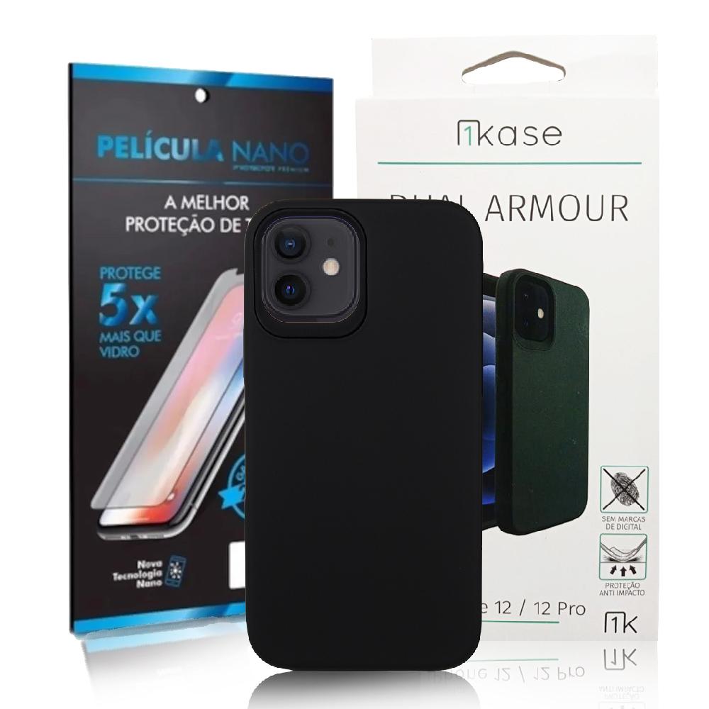 Capa Ikase Dual Armour Preto + Película Nano Premium - Iphone 12 / 12 Pro