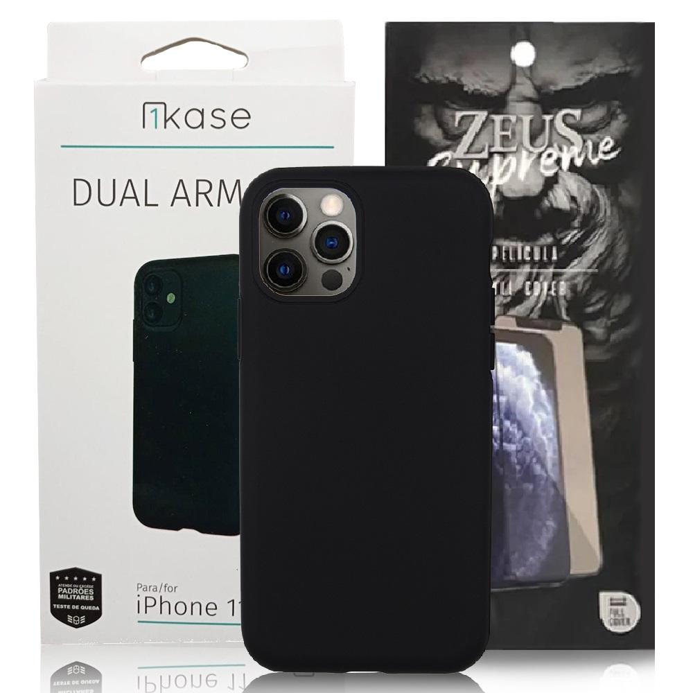 Capa Ikase Dual Armour + Película Nano Zeus Supreme - Iphone 11 Pro