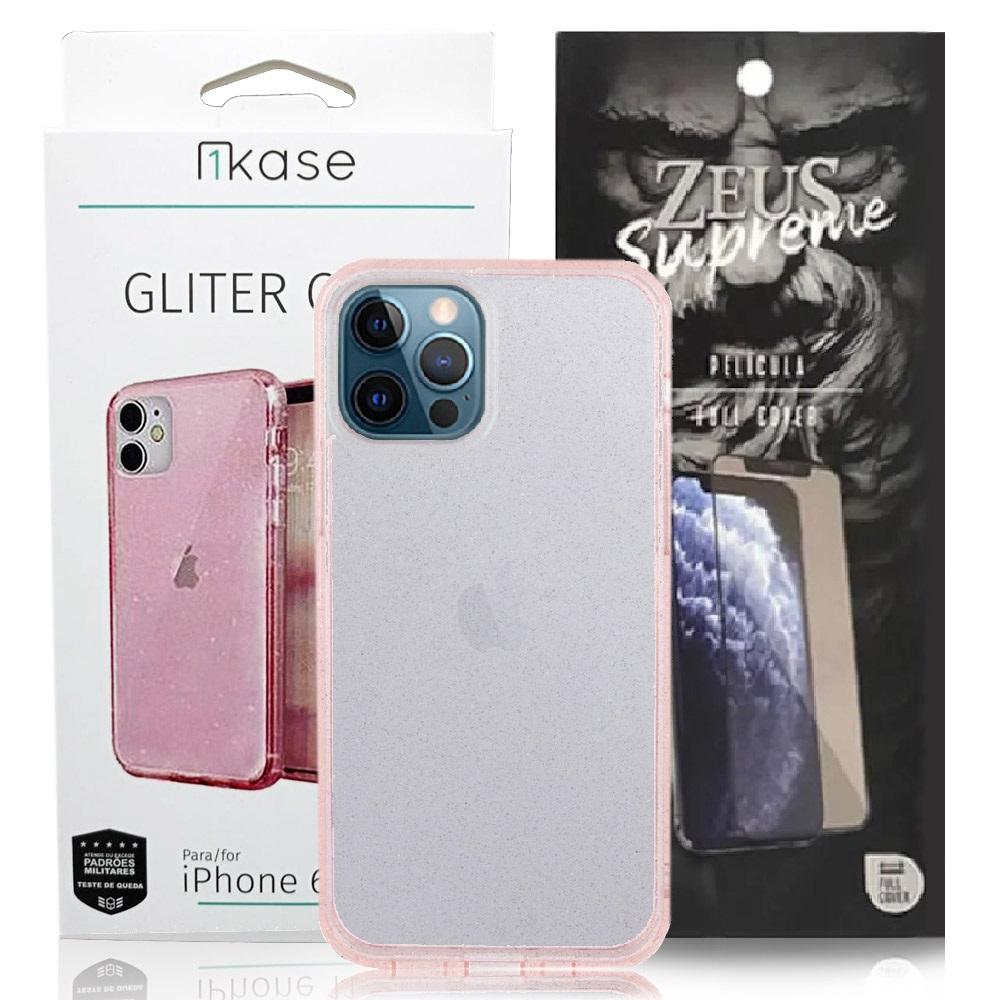 Capa Ikase Gliter Rosa + Película Nano Zeus Supreme - Iphone 12 Pro Max