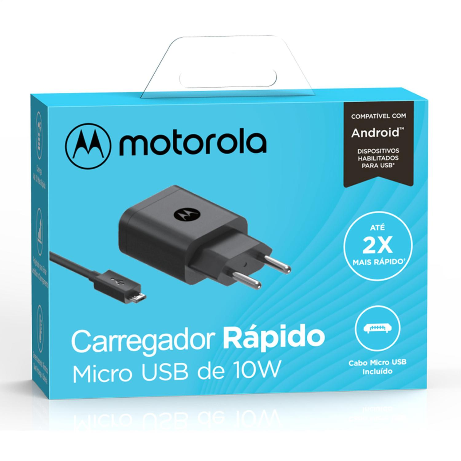 Carregador Motorola Turbo Power 10W - Com cabo Micro-USB - 1UNICA
