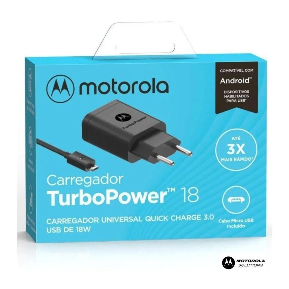 Carregador Motorola Turbo Power 18W com Cabo Micro USB