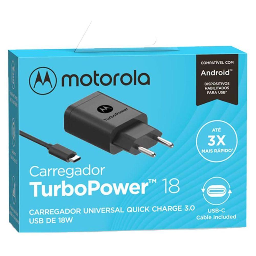 Carregador Motorola Turbo Power 18W com Cabo Tipo-C