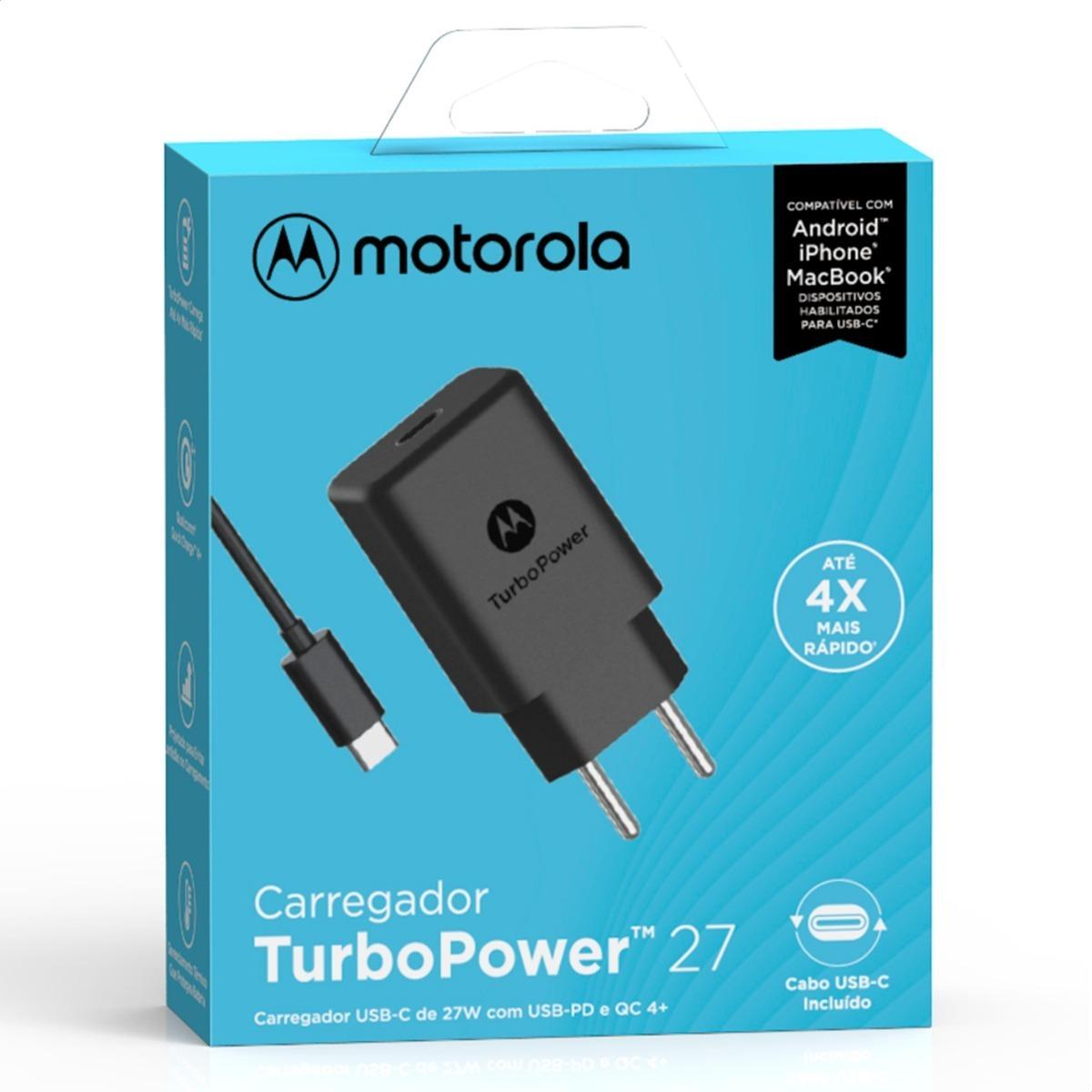 Carregador Motorola Turbo Power 27W e Cabo Tipo C