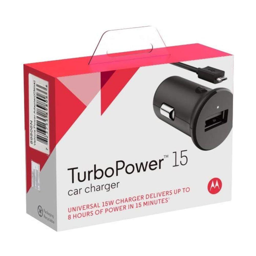 Carregador Veicular Motorola 15W Turbo Power e Cabo Micro USB