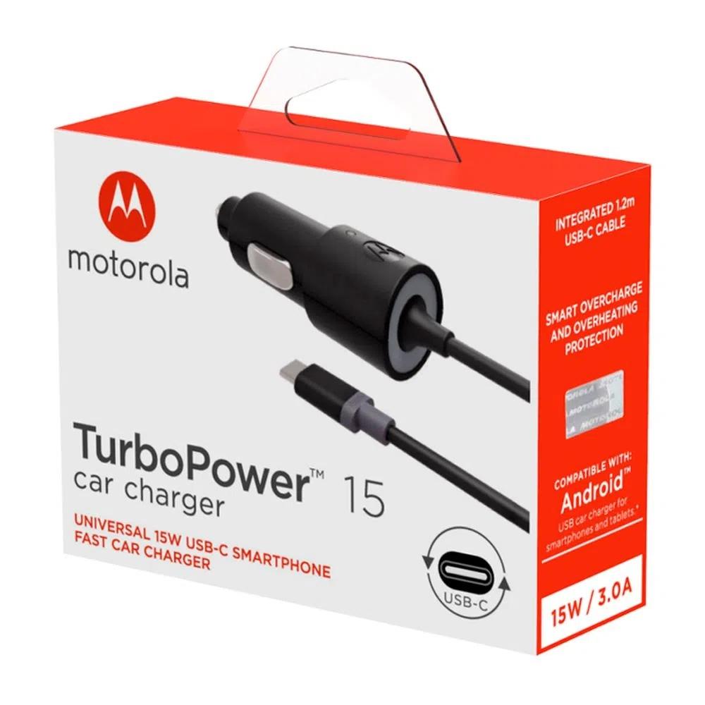 Carregador Veicular Motorola Turbo Power 15w com Cabo Usb C