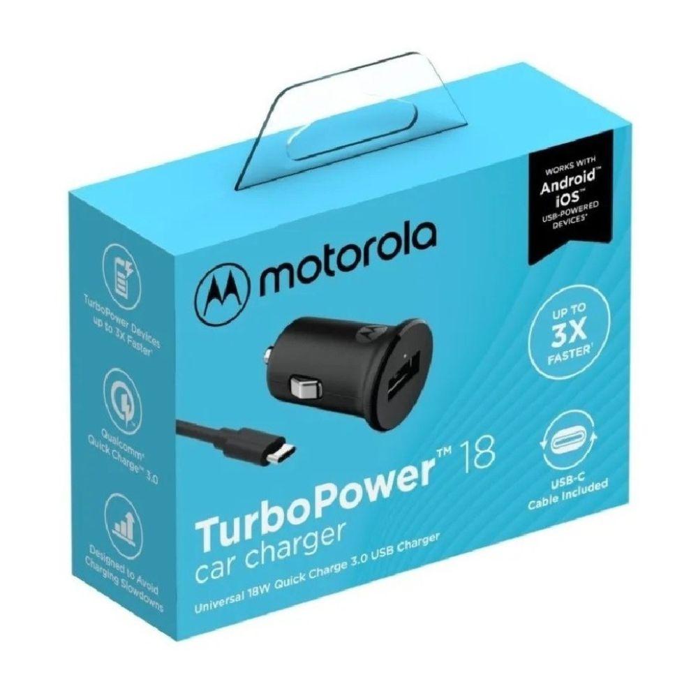 Carregador Veicular Motorola Turbo Power 18W com Cabo Tipo-C