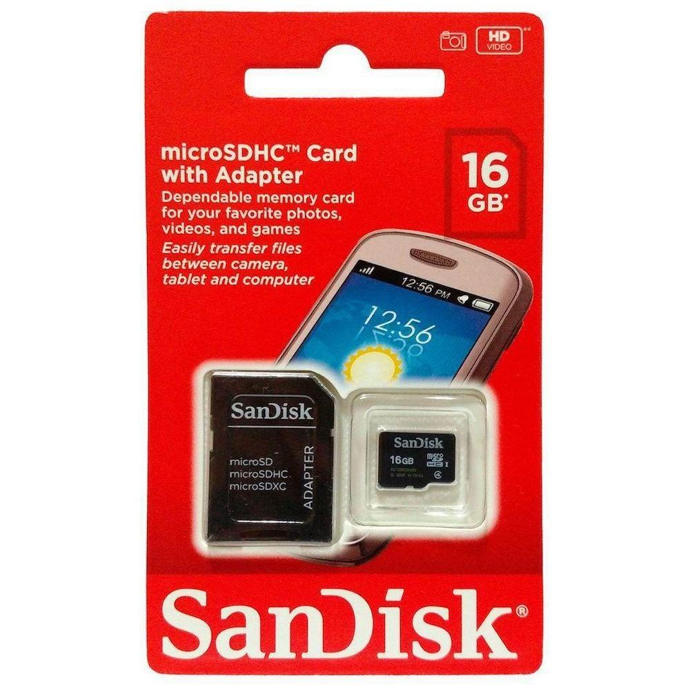 Cartão Memória Micro Sd 16gb Sandisk Classe 4 Câmeras Smartphones