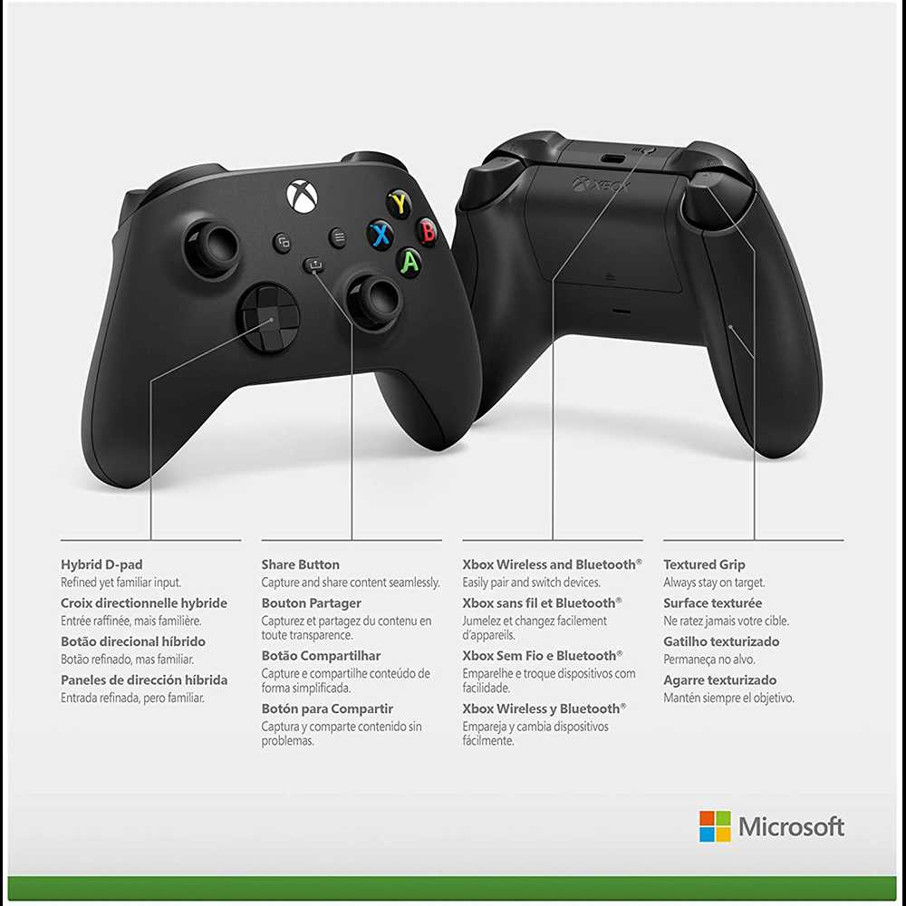 Controle Sem Fio Xbox - Carbon Black - PRETO
