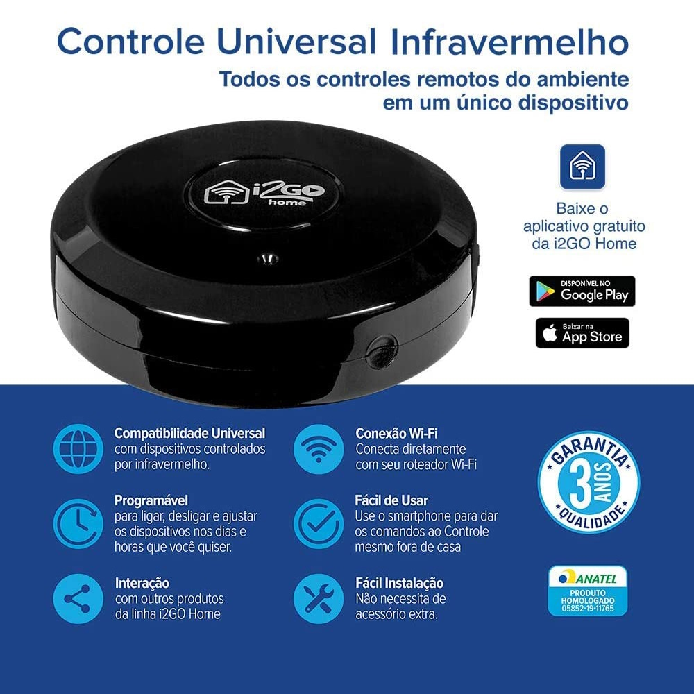 Controle Universal Inteligente Infravermelho - I2GO Home - 1UNICA