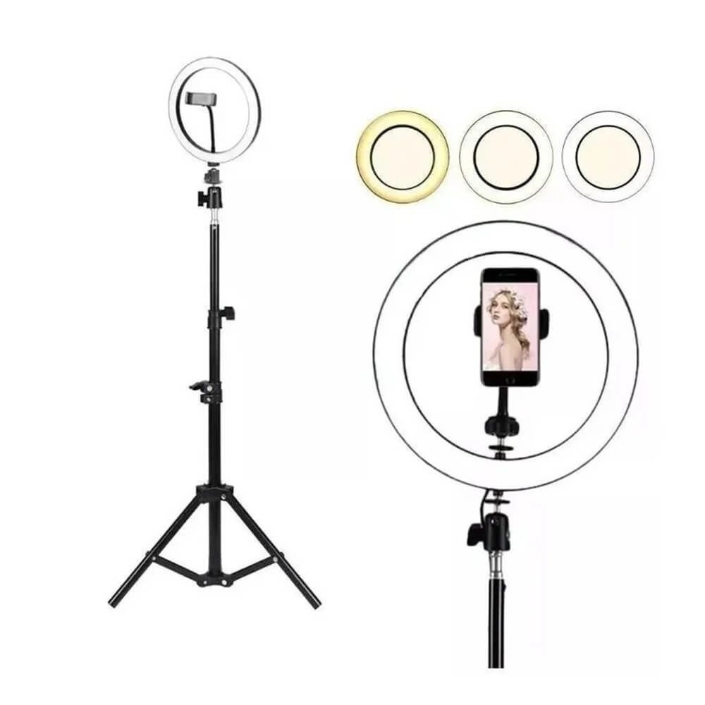 Kit Completo Ring Light Com Tripé 1,90m