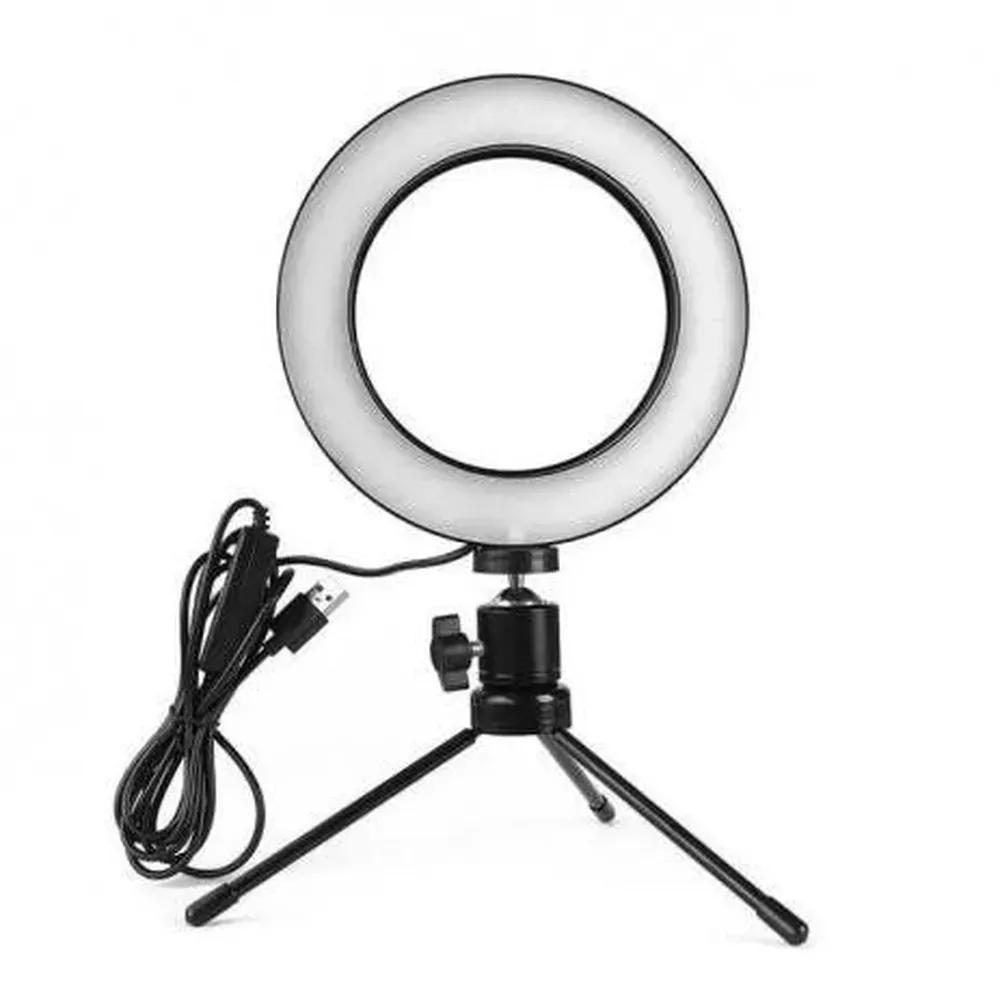 Luminária Ring Light 6 Polegadas com Tripé 20cm