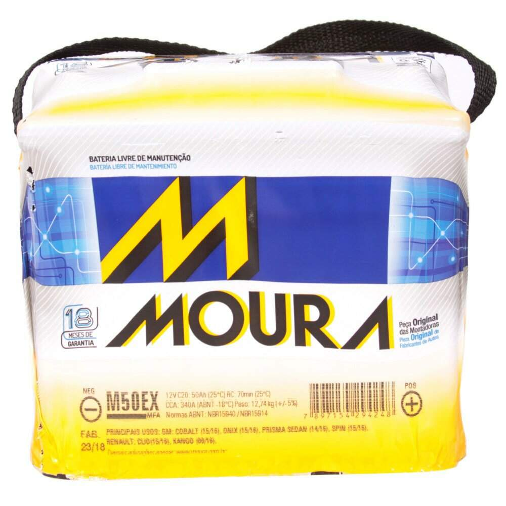 Bateria Automotiva MOURA M50EX 50Ah 18 meses de garantia