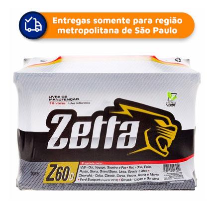 Bateria Automotiva Zetta Z60D 60Ah 2° linha Moura 12 meses de Garantia