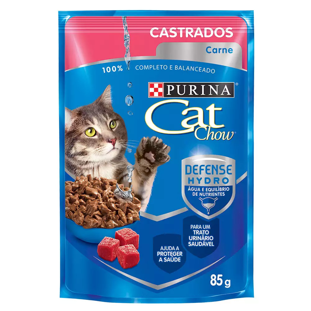 Ração Úmida Cat Chow Sachê para Gatos Castrados Sabor Carne ao Molho 85g