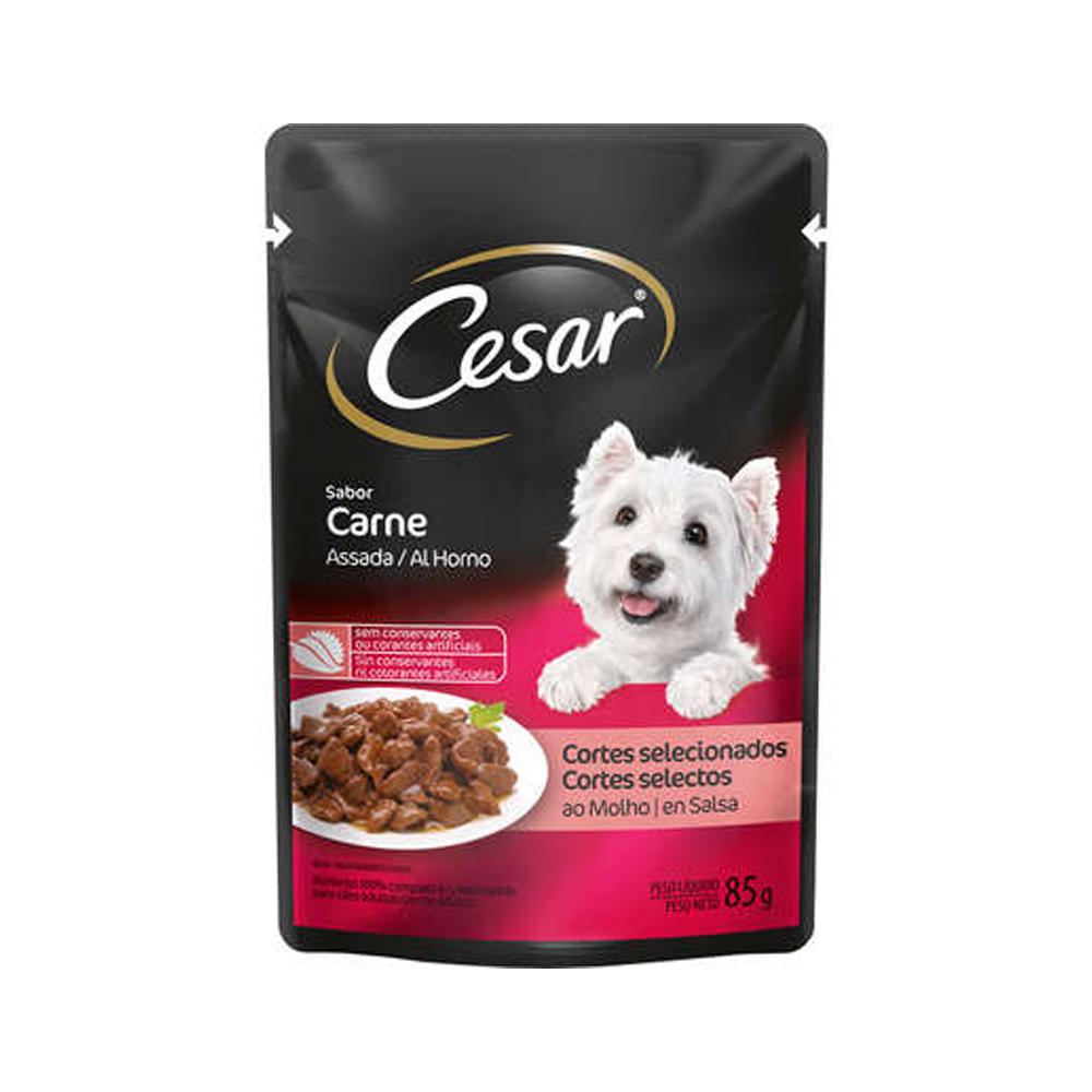 Ração Úmida Cesar Sachê para Cães Adultos Sabor Carne 85g