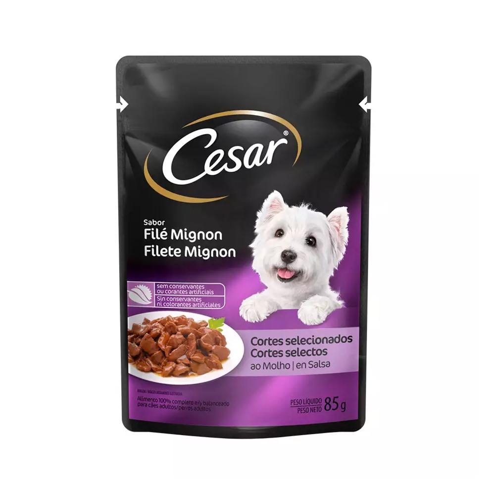 Ração Úmida Cesar Sachê para Cães Adultos Sabor Filet Mignon 85g