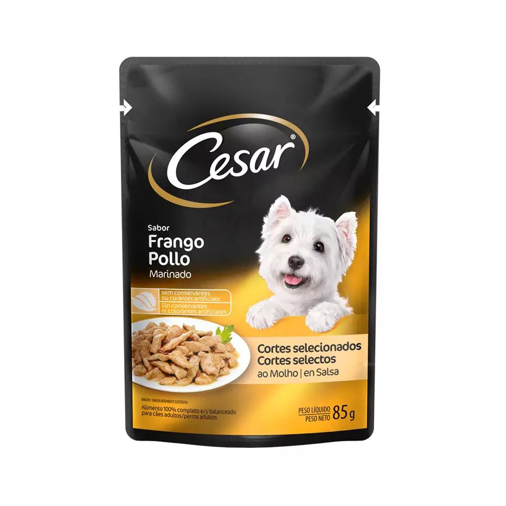 Ração Úmida Cesar Sachê para Cães Adultos Sabor Frango 85g