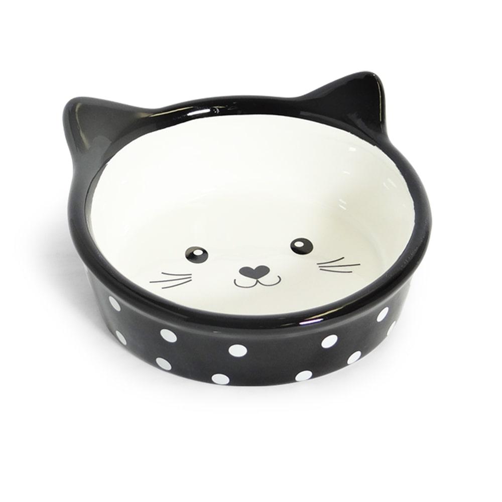 Comedouro Porcelana Face Cat Preto 200ml