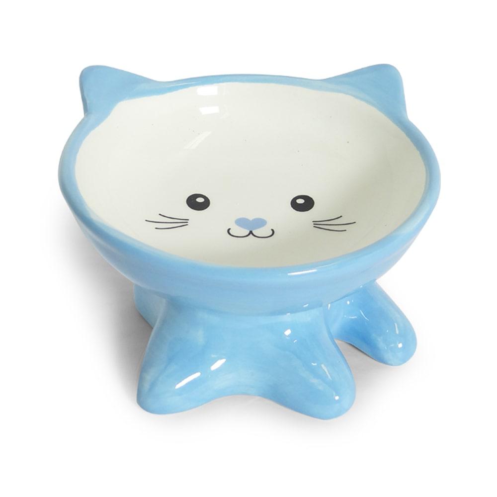 Comedouro Porcelana Gato Filhote Azul 250ml