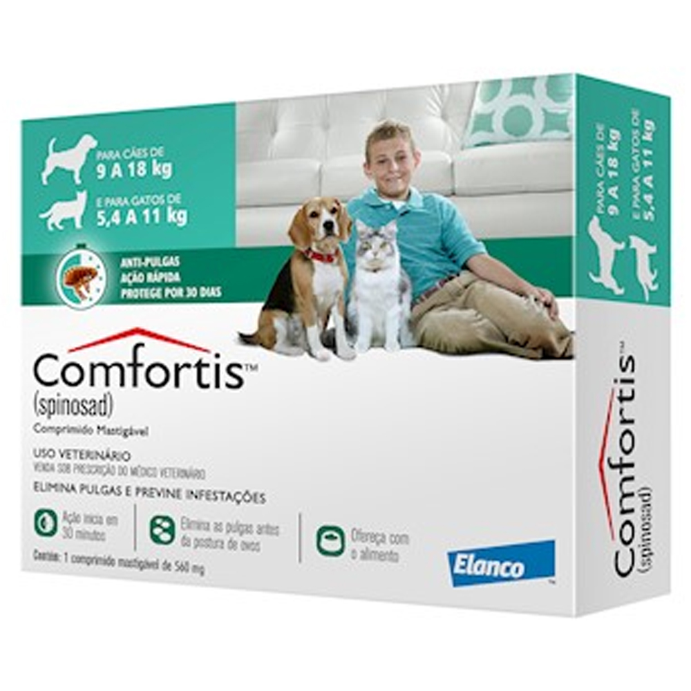 Comfortis 560mg para Cães de 9kg a 18kg e Gatos de 5,4kg a 11kg