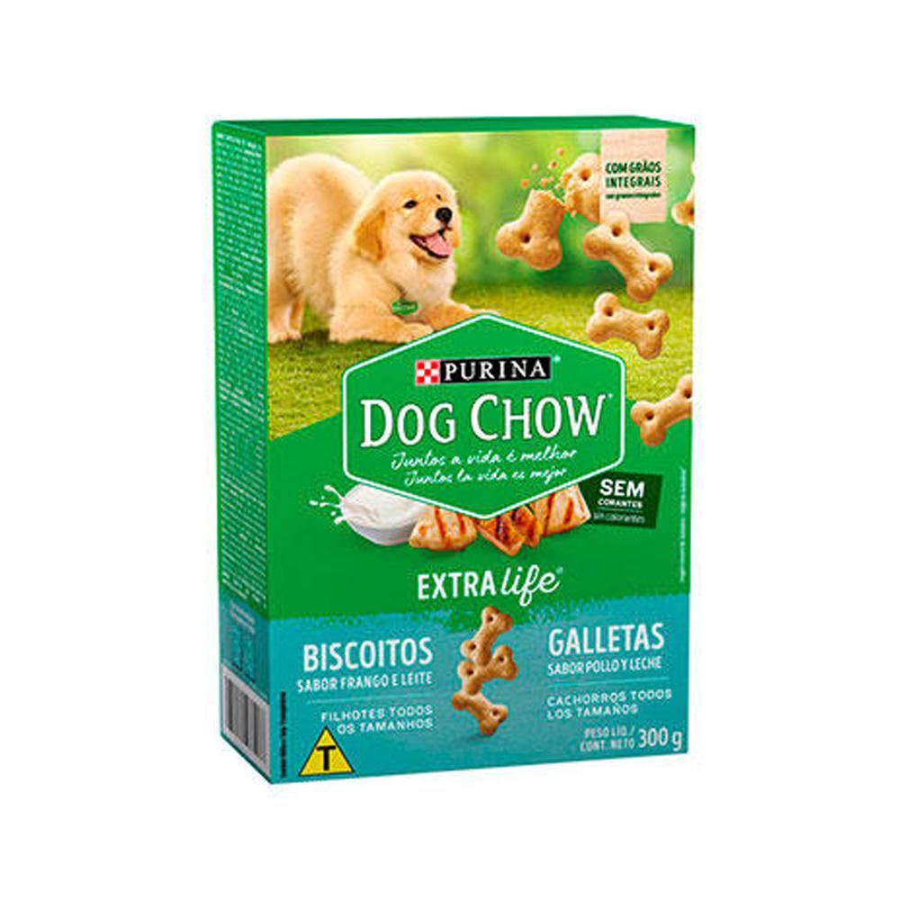 Biscoito Dog Chow Extra Life para Cães Filhotes Sabor Frango e Leite - 300g