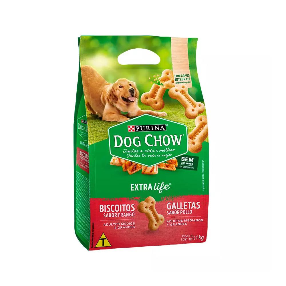 Biscoito Dog Chow Extra Life para Cães Adultos de Raças Médias e Grandes Sabor Frango - 1kg