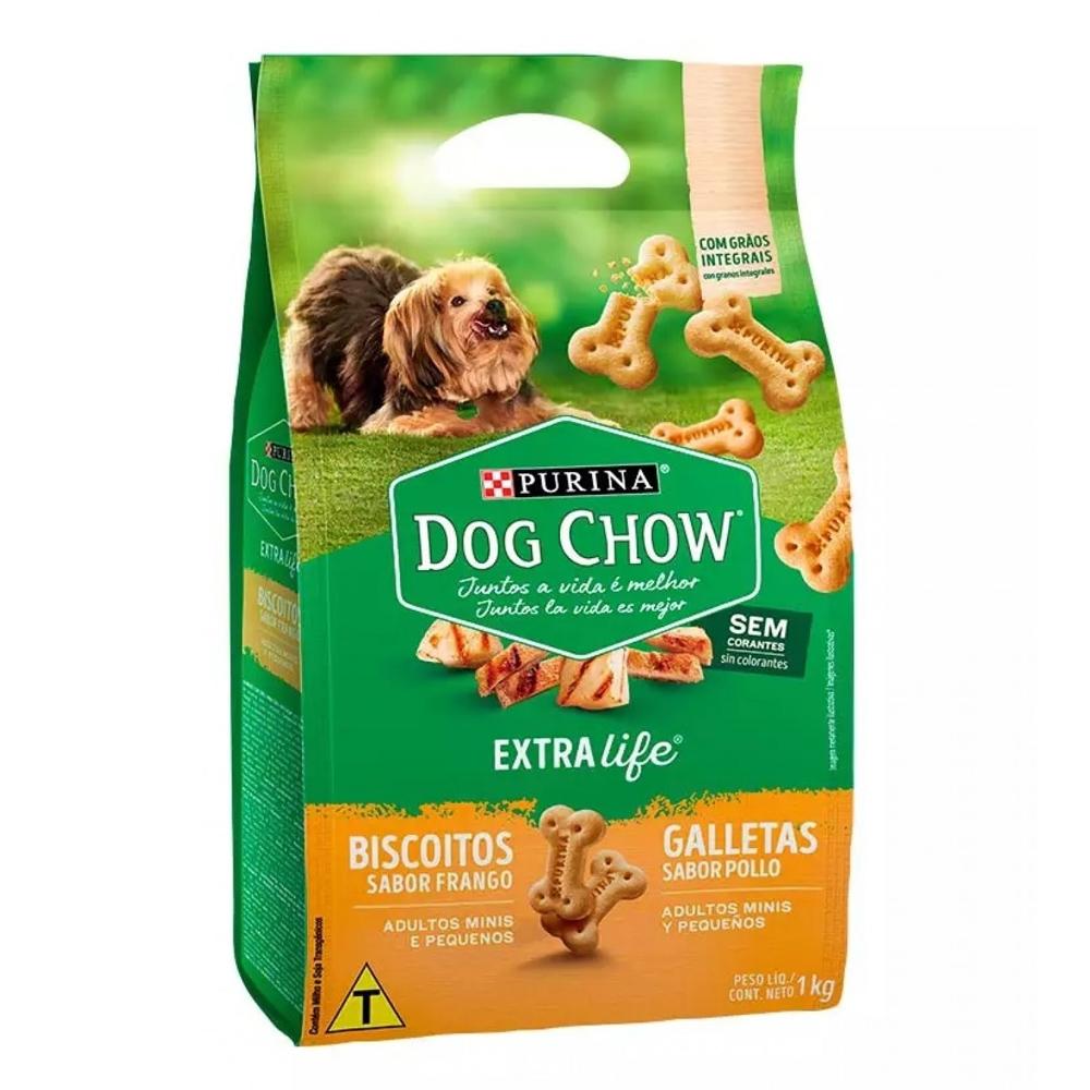 Biscoito Dog Chow Extra Life para Cães Adultos de Raças Pequenas e Mini Sabor Frango - 1kg