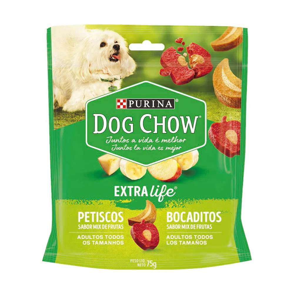 Petisco Dog Chow Extra Life para Cães Adultos Sabor Mix de Frutas - 75g