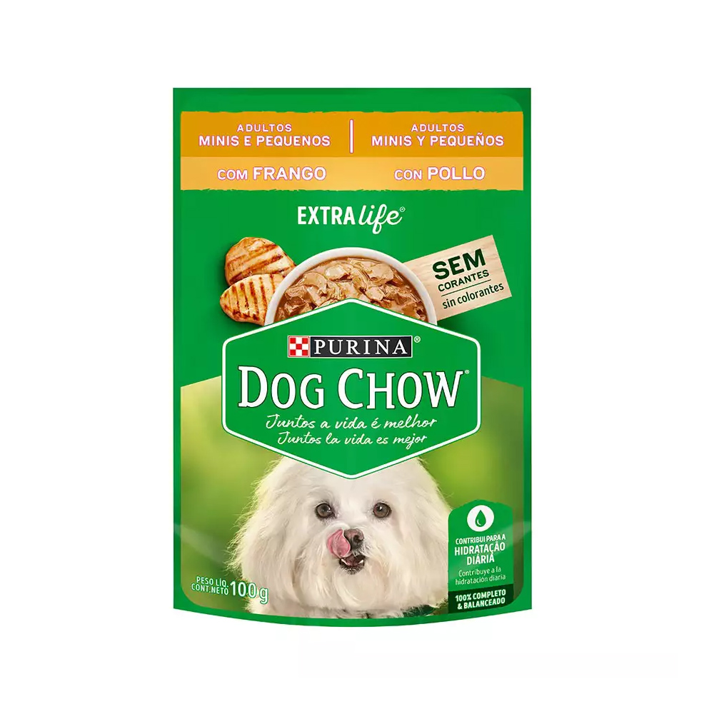 Ração Úmida Dog Chow Sachê para Cães Adultos de Raças Pequenas Sabor Frango 100g