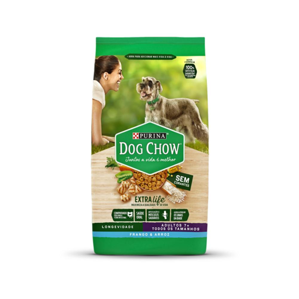 Ração Dog Chow para Cães Adultos + 7 sabor Frango e Arroz Longevidade 3kg