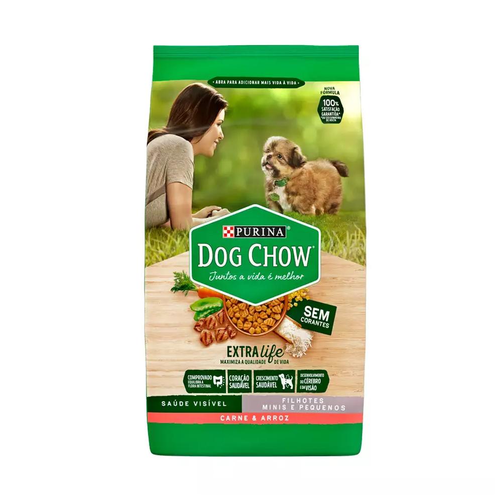Ração Dog Chow para Cães Filhotes de Raças Pequenas Sabor Carne e Arroz 3kg