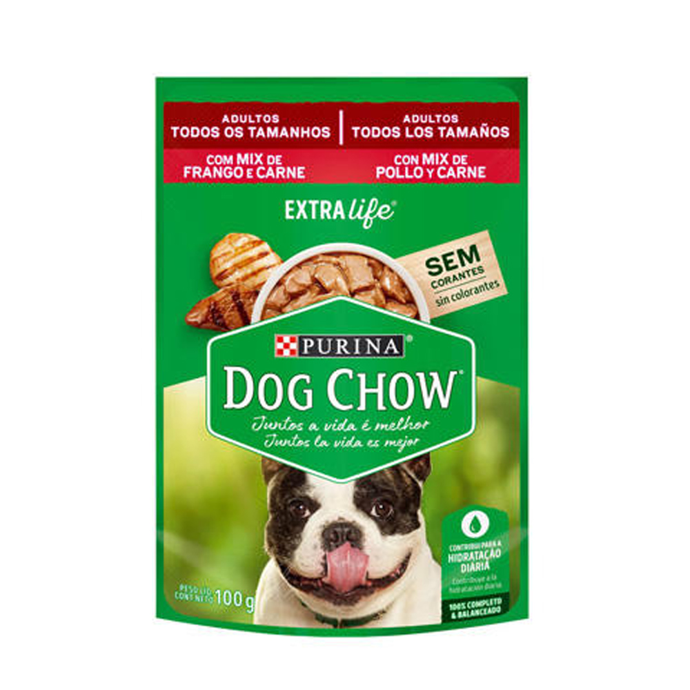 Ração Úmida Dog Chow para Cães Adultos Mix de Frango e Carne 100g