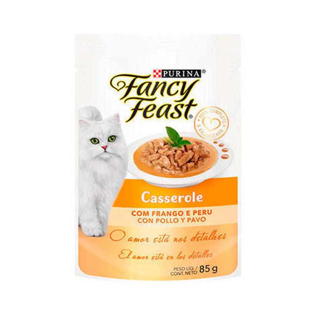 Ração Úmida Fancy Feast Sachê Casserole para Gatos Adultos Sabor Frango e Peru 85g