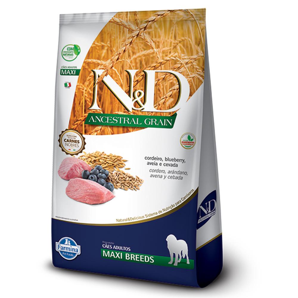 Ração N&D Ancestral Grain para Cães Adultos de Raças Grandes Sabor Cordeiro e Blueberry 10,1kg