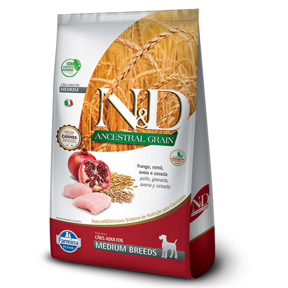 Ração N&D Ancestral Grain para Cães Adultos de Raças Médias Sabor Frango e Romã 2,5kg