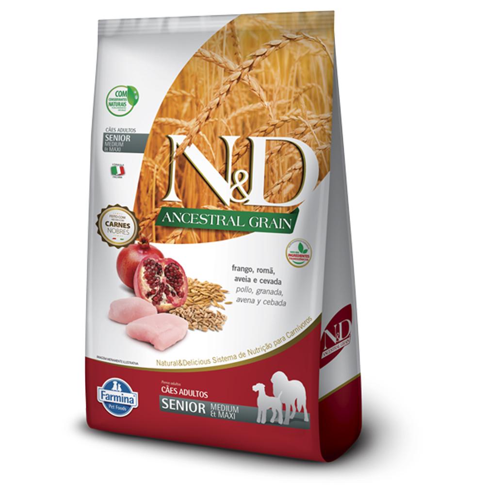 Ração N&D Ancestral Grain para Cães Sênior de porte Médio sabor Frango e Romã 10,1kg