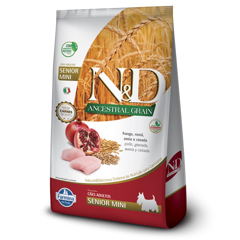 Ração N&D Ancestral Grain para Cães Sênior de porte Mini sabor Frango e Romã 800g