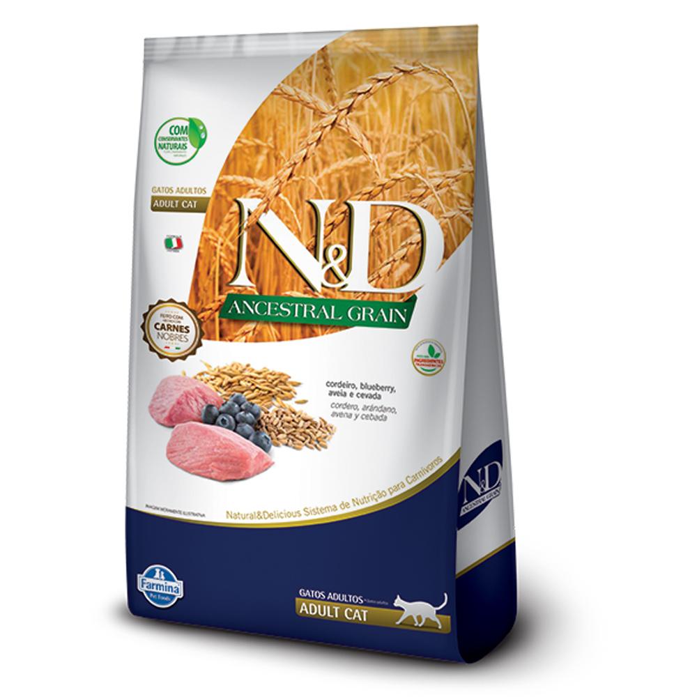 Ração N&D Ancestral Grain para Gatos Adultos Sabor Cordeiro, Blueberry, Aveia e Cevada 400g